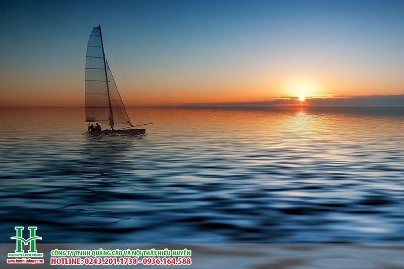 tranh dán tường cảnh biển hoàng hôn