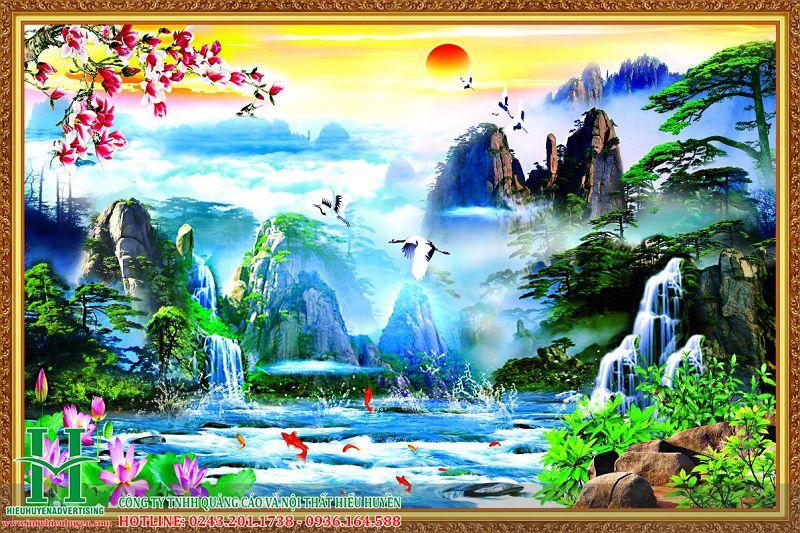 Tranh 3D ao sen thác nước đẹp nhất