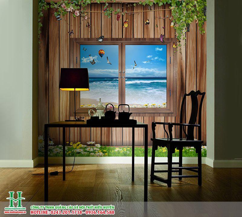 in tranh 3D cửa sổ dán tường cho phòng ăn