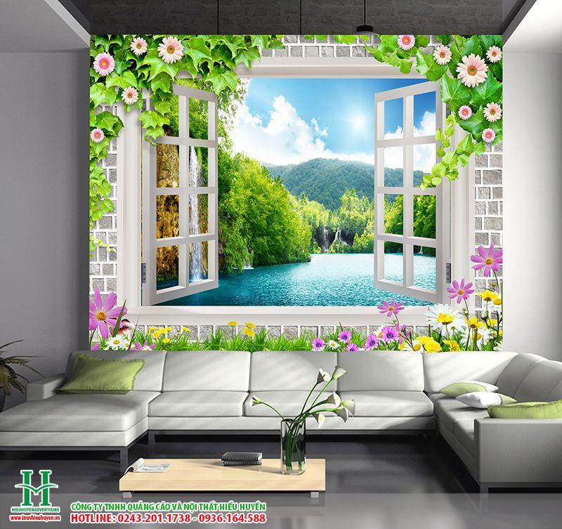 nhận in tranh dán tường cửa sổ cho phòng khách