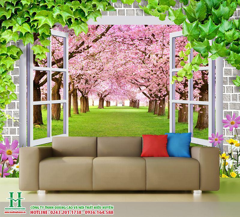 tranh dán tường cửa sổ hoa anh đào
