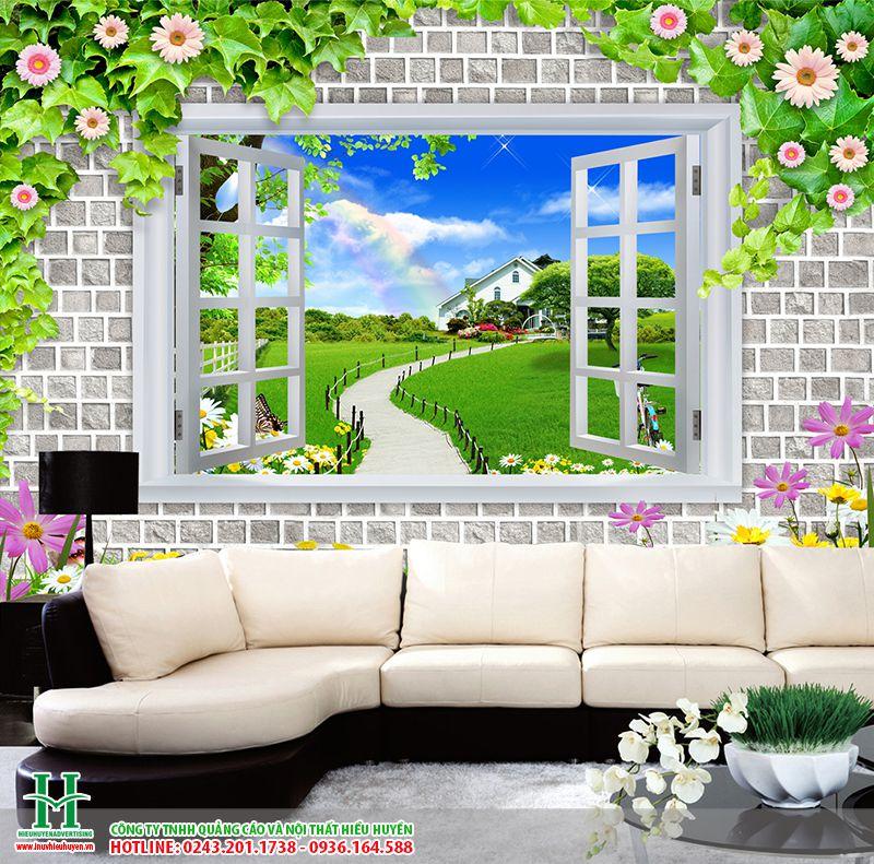 tranh dán tường cửa sổ thiên nhiên cho phòng khách đẹp