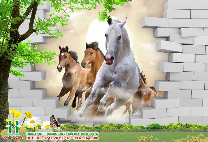 Tranhdans tường hình con ngựa phù hợp treo phòng khách