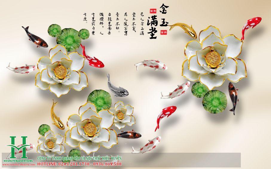 Tranh 3D cá chép hoa sen đẹp nhất
