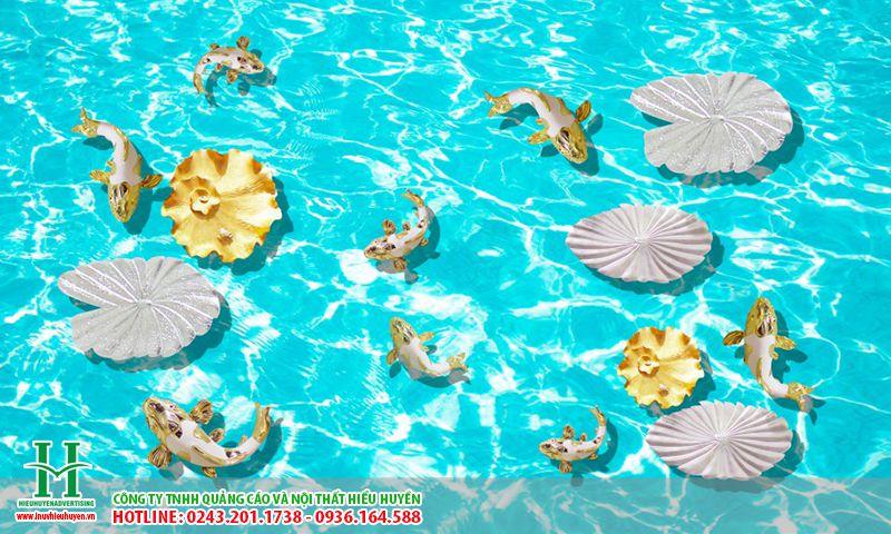 tranh gạch 3D hồ bơi lát nền