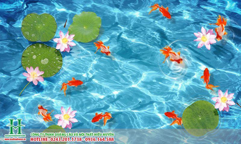 lát nền hồ bơi bằng tranh gạch tạo cảm giác sống động chân thực