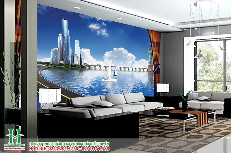 Tranh dán tường 3D thành phố  dán phòng khách