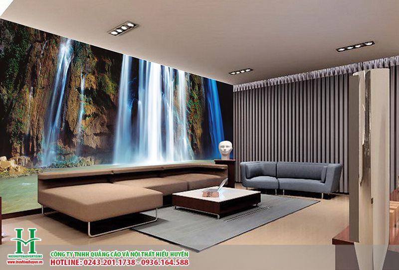 Tranh dán tường phong cảnh thác nước dán phòng khách