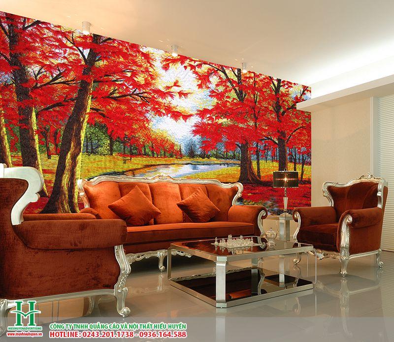 Tranh dán tường phòng khách nghệ thuật