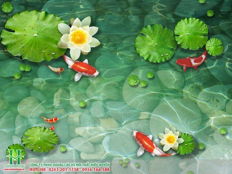 Tranh 3D cá chép hoa sen - cửu ngư quần hội