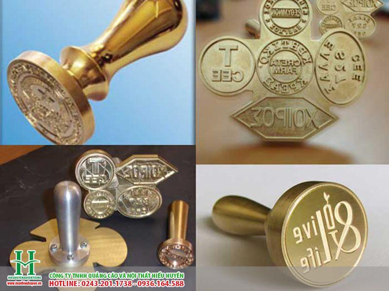 Cắt CNC trên đồng làm con dấu công ty
