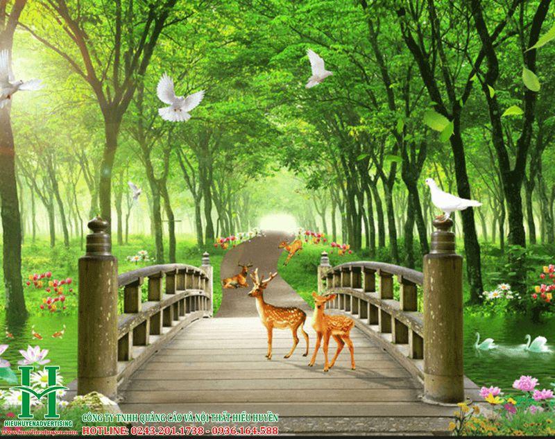 Tranh 3D thiên nhiên rừng cây và nai