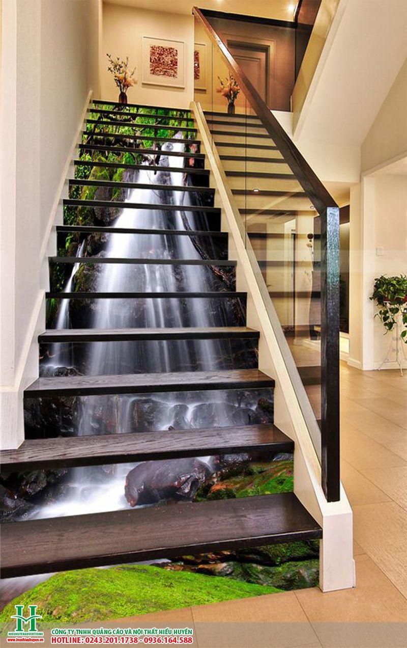 Gạch 3D thác nước ốp cầu thang